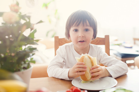 niños desayunando: Beautiful little boy, eating sandwich at home, vegetables on the table, back light Foto de archivo