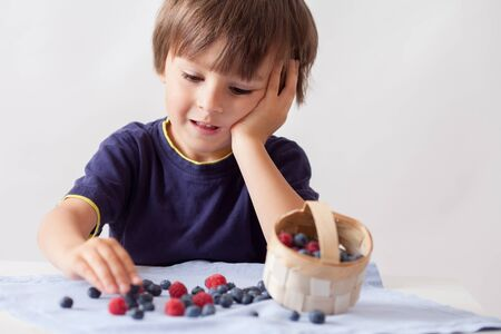 organic farming: Child, sitting behind a table with raspberries and blueberries, eating them and playing with them, isolated on white