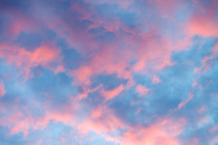 sunset clouds: Sky clouds texture, background. Dramatic cotton candy sky cloud texture background