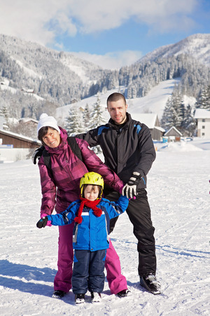 three generation: Three generation portrait - grandmother son and grandchild on a winter holiday