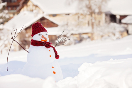 landscape rural: Cute snowman in his red outfit and carrot, outdoor in garden