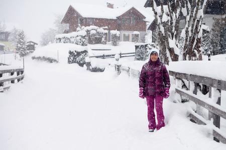 Hurl: Attractive beautiful woman having fun in winter, outside Stock Photo