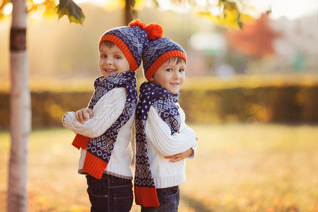 camera: Adorable little boys, brothers, with teddy bear in the park on an autumn day in the afternoon, sunset light