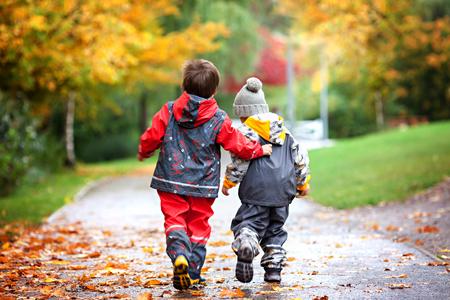雨の日、秋の時間に公園でおもちゃを争って 2 人の子供