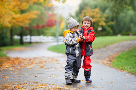 sibling rivalry: Two children, fighting over toy in the park on a rainy day, autumn time