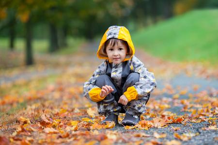 niño saltando: El niño pequeño, jugando bajo la lluvia en el parque de otoño, las hojas a su alrededor Foto de archivo