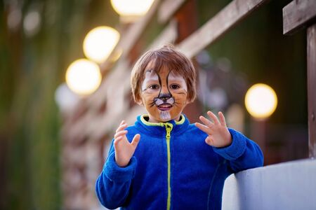 hair mask: Cute boy with painted face as a lion, having fun outdoor