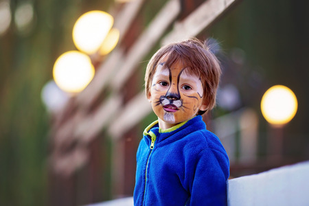 painted face: Cute boy with painted face as a lion, having fun outdoor