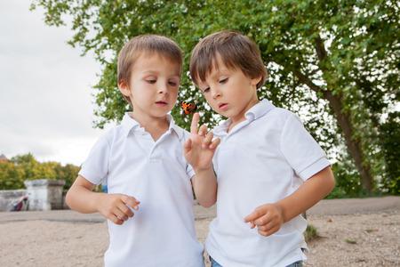 Schattige kleine peuter jongens, broers, het spelen met vlinder buiten in het park, zomer Stockfoto