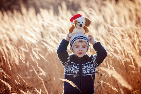 boy alone: Cute little caucasian child, boy, holding fluffy toy, hugging it, in the park, on sunny winter day
