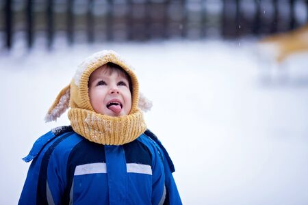 boy smiling: Sweet little boy, catching snowflakes in the park, playground, wintertime