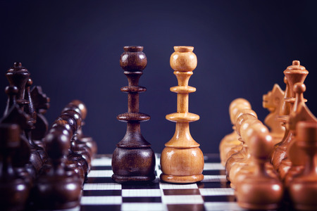 sameness: Chess figures on a chess board, symmetrically set on the board Stock Photo