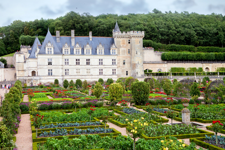 monument valley view: VILLANDRY, FRANCE - 26 AUGUST 2015, Chateau de Villandry is a castle-palace located in Villandry, in department of Indre-et-Loire, France. He is a world known for its amazing gardens