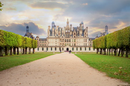 chambord: CHAMBORD, FRANCE - 27 AUGUST 2015: Chateau de Chambord, royal medieval french castle at Loire Valley in France, Europe