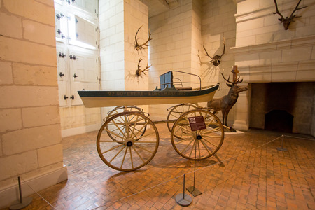 french renaissance: CHAMBORD, FRANCE - 28 AUGUST 2015:  Chateau de Chambord, royal medieval french castle at Loire Valley in France, Interier picture of castle furniture from the inside Editorial