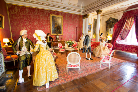usse: DUSSE, FRANCE - 27 AUGUST 2015: Royal castle of dUsse, Loire Valley, France. Castle from the inside, wax figurines from fairytales