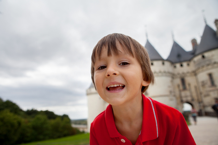 french renaissance: Portrait of a child, cute boy, in front of Chaumont castle Stock Photo
