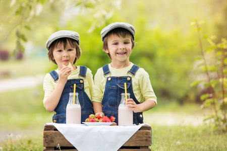 Two beautiful children, boy brothers, eating strawberries and cookies and drinking smoothie in the park in late sunny spring afternoon