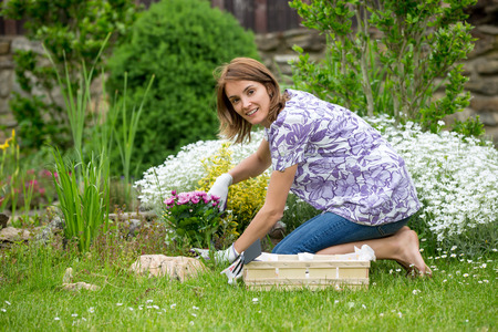 backyard woman: Young woman, working in the garden, planting beautiful flowers in the backyard