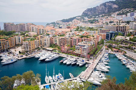 Wide view of luxury yachts in the harbor of Monte Carlo, Monaco