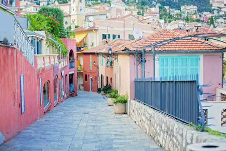 azur: Beautiful view of streets in Villefranche sur Mer, Nice, Cote d Azur, French Riviera Stock Photo