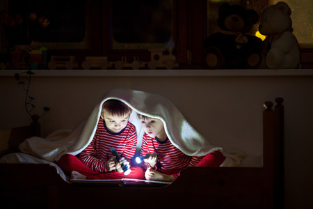 flashlights: Two sweet boys, reading a book in bed after bedtime, using flashlights, winter night