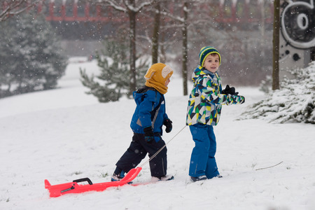 bob: Two kids, boy brothers, sliding with bob in the snow, wintertime, happiness concept Stock Photo