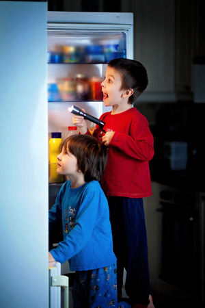 secretly: Two little boys, secretly eating sweets from the fridge at night, searching for them using flashlight