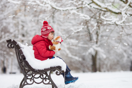 Adorable little child, boy, playing in a snowy park,  holding teddy bear, sitting on bench, wintertime