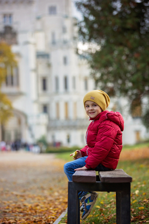 budejovice: Cute beautiful child, boy, sitting on a bench in front of beautiful renaissance castle Hluboka in the Czech Republic, eating apple