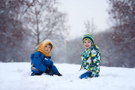 palle di neve: Two boys, brothers, playing in the snow with snowballs, wintertime