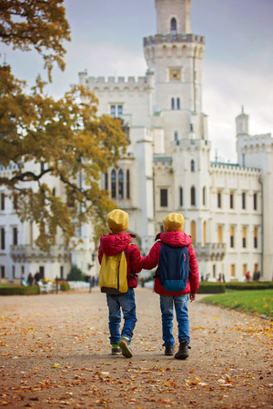 budejovice: Two beautiful children, boy brothers, walking on a path in beautiful renaissance castle Hluboka in the Czech Republic Stock Photo