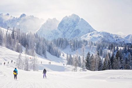 ski walking: Winter landscape scene in a ski resort in Austria, snow, mountains, trees