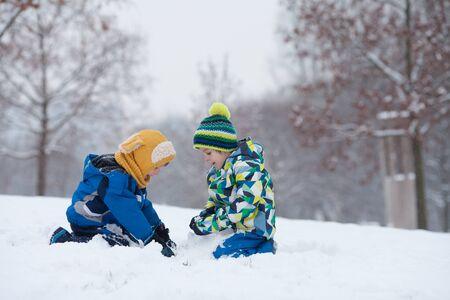 palle di neve: Due ragazzi, fratelli, giocare nella neve con palle di neve, inverno