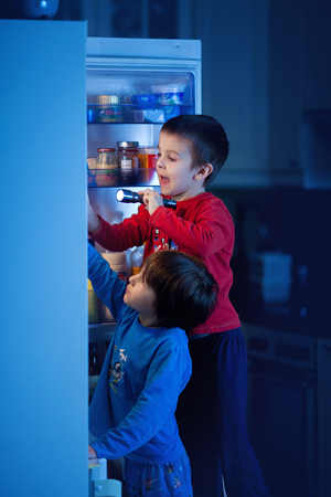Two little boys, secretly eating sweets from the fridge at night, searching for them using flashlight