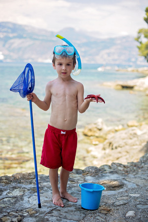 plankton: Little boy holding red five point starfish and bucket in his hands on the beach