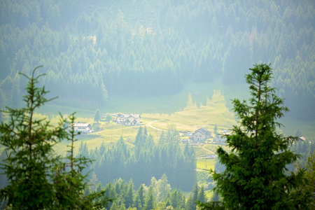 Landscape view of a little village in Swiss Alps on sunset, Switzerland Stock Photo