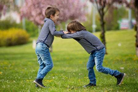 Two children, brothers, fighting in a park, springtime Stock Photo