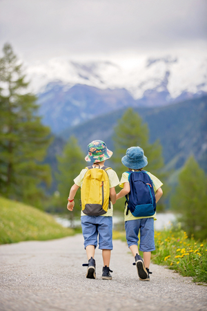 Two children, boy brothers, walking on a little path in Swiss Alps, hiking mountain with backpacks, gathering herbs and flowers Stock Photo