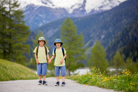 dandelion snow: Two children, boy brothers, walking on a little path in Swiss Alps, hiking mountain with backpacks, gathering herbs and flowers Stock Photo