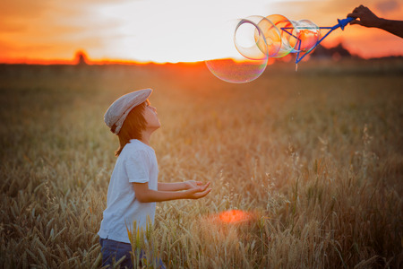 Cheerful child, boy, chasing soap bubbles in a wheat field on sunset, summertime Stock Photo