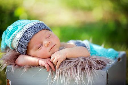 Cute newborn baby boy, sleeping peacefully in basket in flower garden Stock fotó