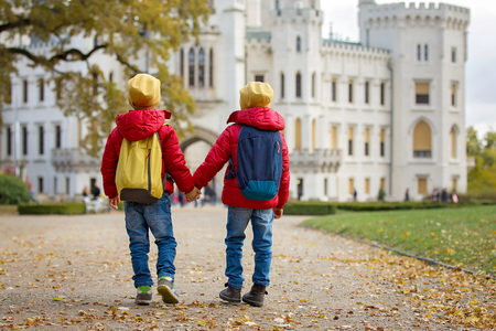 Two beautiful children, boy brothers, walking on a path in beautiful renaissance castle Hluboka in the Czech Republic Stock Photo