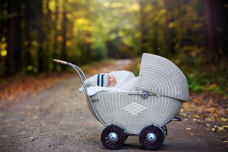 秋の時間、包まれたマフラーとニット帽子フォレストで古いレトロなベビーカーで寝ている、小さな生まれたばかりの赤ちゃん少年。レトロなベビ 写真素材