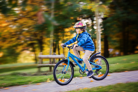 Cute child, boy riding bike in autumn park, afternoon soft sun light