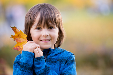 Beautiful autumn portrait of young preschool boy in the park, fall time on sunset, soft sunset back light