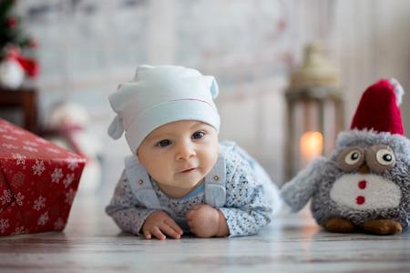 Cute christmas portrait of little baby boy Stock Photo
