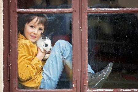 Cute little preschool boy, playing with rabbits, pets, sitting on vintage window Reklamní fotografie - 99247253