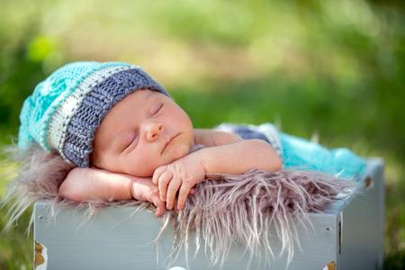 Cute newborn baby boy, sleeping peacefully in basket in flower garden Stock Photo