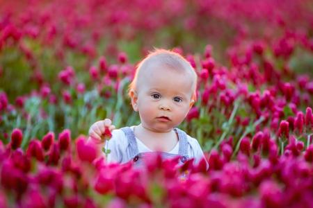 Beautiful children in gorgeous crimson clover field on sunset, springtime